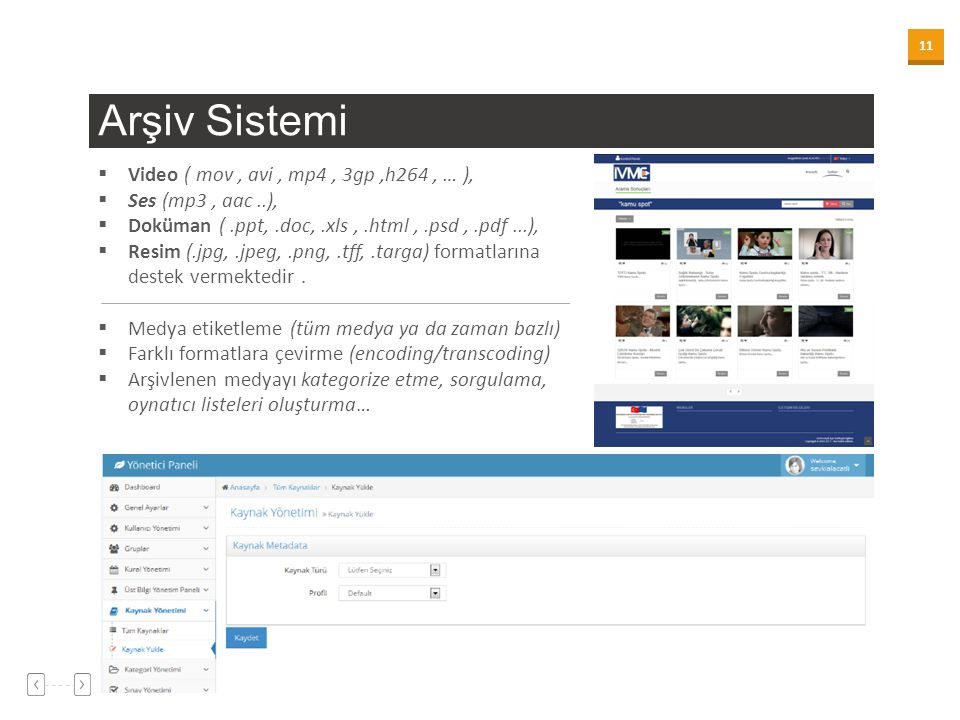 11 Arşiv Sistemi  Video ( mov, avi, mp4, 3gp,h264, … ),  Ses (mp3, aac..),  Doküman (.ppt,.doc,.xls,.html,.psd,.pdf...),  Resim (.jpg,.jpeg,.png,.