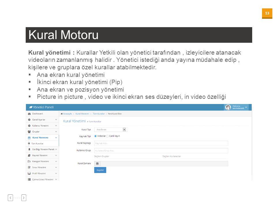 13 Kural Motoru Kural yönetimi : Kurallar Yetkili olan yönetici tarafından, izleyicilere atanacak videoların zamanlanmış halidir. Yönetici istediği an