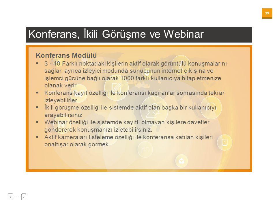 19 Konferans, İkili Görüşme ve Webinar Konferans Modülü  3 - 40 Farklı noktadaki kişilerin aktif olarak görüntülü konuşmalarını sağlar, ayrıca izleyi