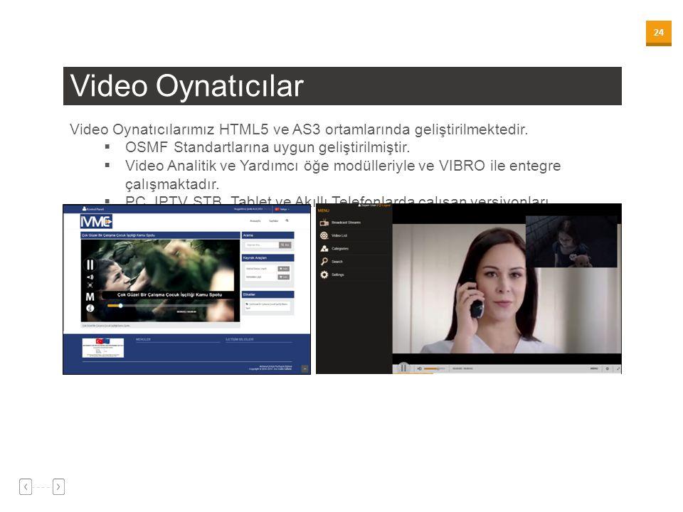 24 Video Oynatıcılar Video Oynatıcılarımız HTML5 ve AS3 ortamlarında geliştirilmektedir.  OSMF Standartlarına uygun geliştirilmiştir.  Video Analiti