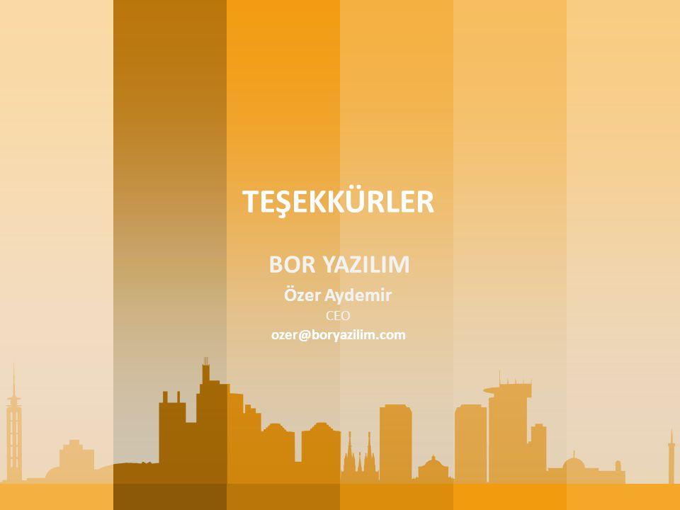 TEŞEKKÜRLER BOR YAZILIM Özer Aydemir CEO ozer@boryazilim.com