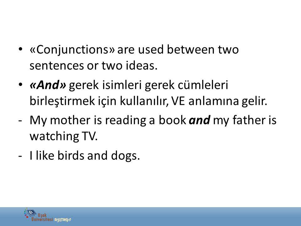 «Conjunctions» are used between two sentences or two ideas. «And» gerek isimleri gerek cümleleri birleştirmek için kullanılır, VE anlamına gelir. -My