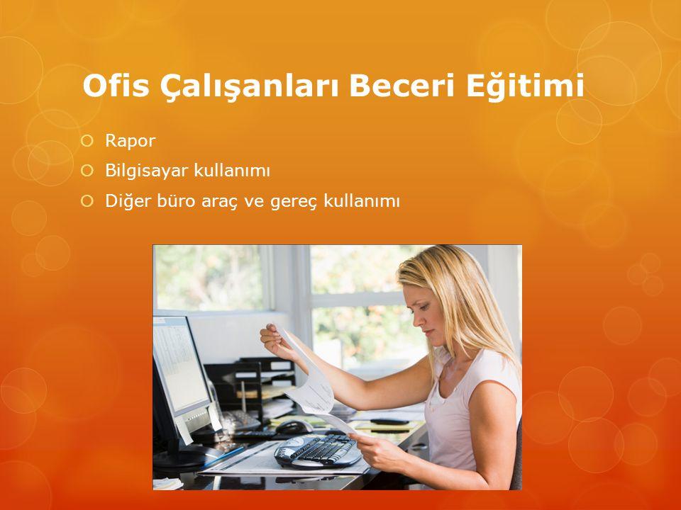 Ofis Çalışanları Beceri Eğitimi  Rapor  Bilgisayar kullanımı  Diğer büro araç ve gereç kullanımı