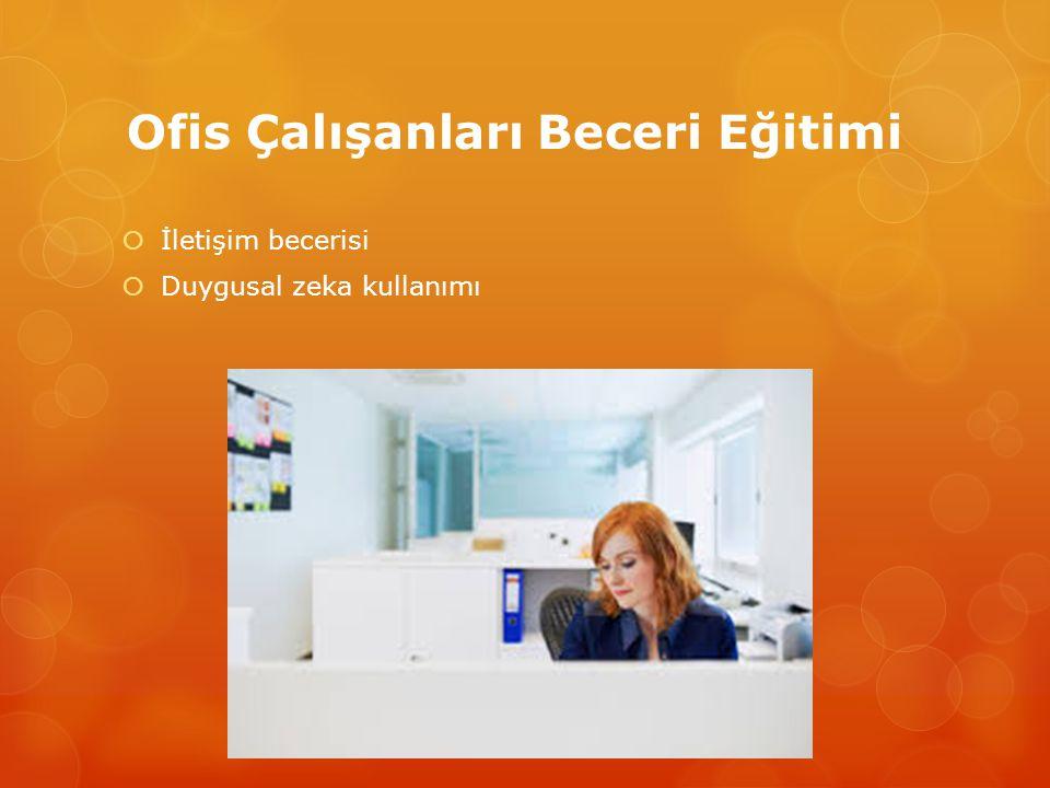 Ofis Çalışanları Beceri Eğitimi  Yönetime uygun tutum ve davranış geliştirme  Günlük iş planlaması