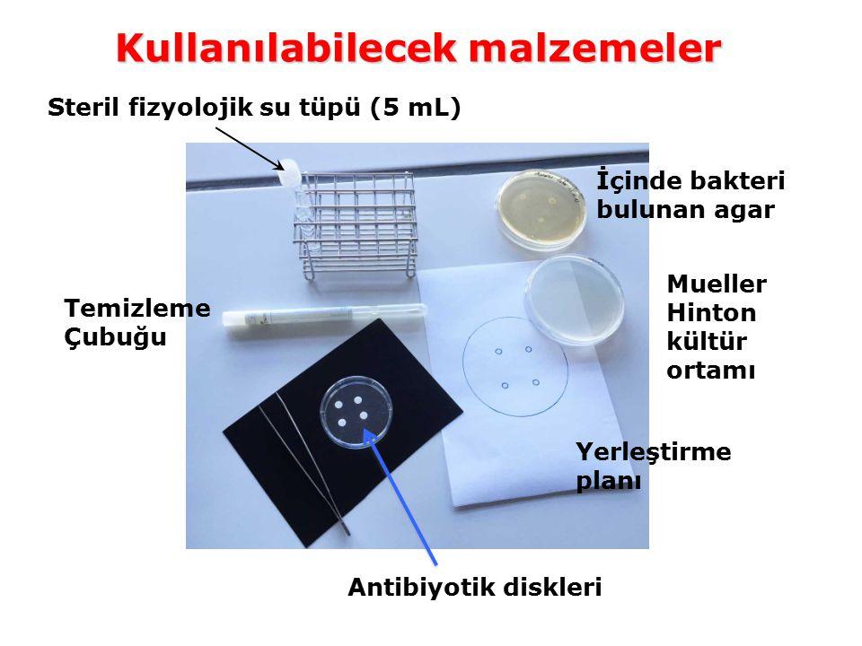 Kullanılabilecek malzemeler Temizleme Çubuğu İçinde bakteri bulunan agar Antibiyotik diskleri Mueller Hinton kültür ortamı Yerleştirme planı Steril fi