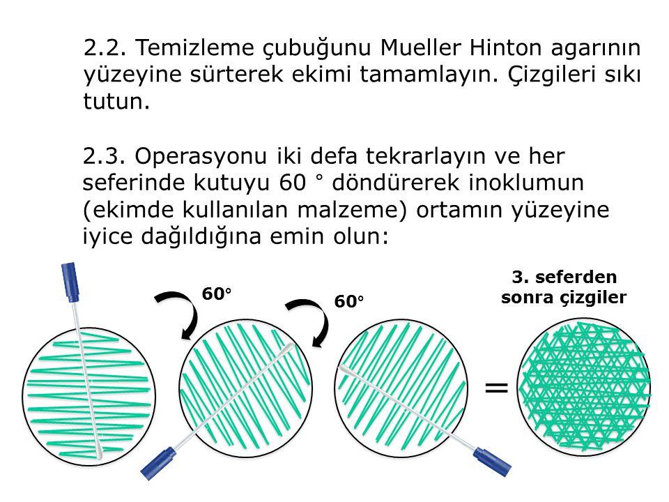 2.2. Temizleme çubuğunu Mueller Hinton agarının yüzeyine sürterek ekimi tamamlayın. Çizgileri sıkı tutun. 2.3. Operasyonu iki defa tekrarlayın ve her