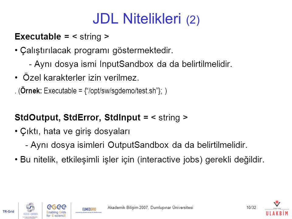 Akademik Bilişim 2007, Dumlupınar Üniversitesi10/32 JDL Nitelikleri (2) Executable = Çalıştırılacak programı göstermektedir. - Aynı dosya ismi InputSa