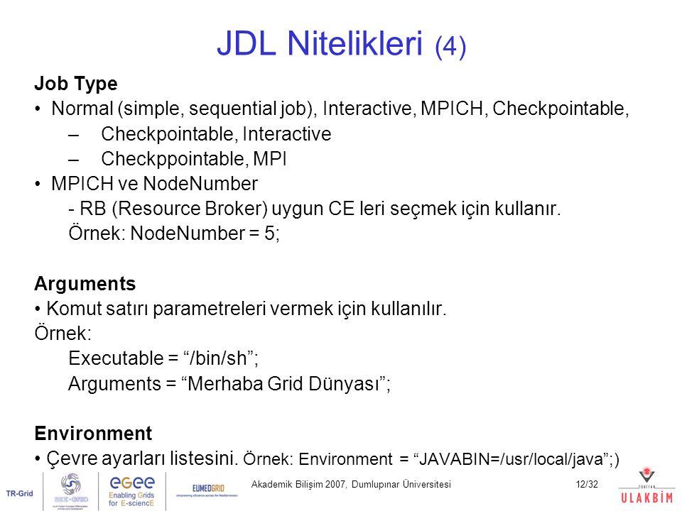 Akademik Bilişim 2007, Dumlupınar Üniversitesi12/32 JDL Nitelikleri (4) Job Type Normal (simple, sequential job), Interactive, MPICH, Checkpointable,
