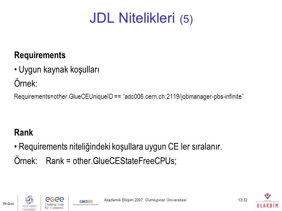 Akademik Bilişim 2007, Dumlupınar Üniversitesi13/32 JDL Nitelikleri (5) Requirements Uygun kaynak koşulları Örnek: Requirements=other.GlueCEUniqueID == adc006.cern.ch:2119/jobmanager-pbs-infinite Rank Requirements niteliğindeki koşullara uygun CE ler sıralanır.