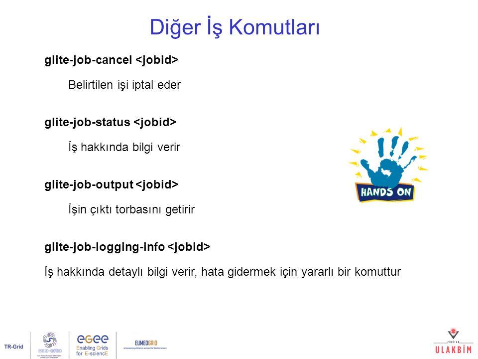 Diğer İş Komutları glite-job-cancel Belirtilen işi iptal eder glite-job-status İş hakkında bilgi verir glite-job-output İşin çıktı torbasını getirir glite-job-logging-info İş hakkında detaylı bilgi verir, hata gidermek için yararlı bir komuttur