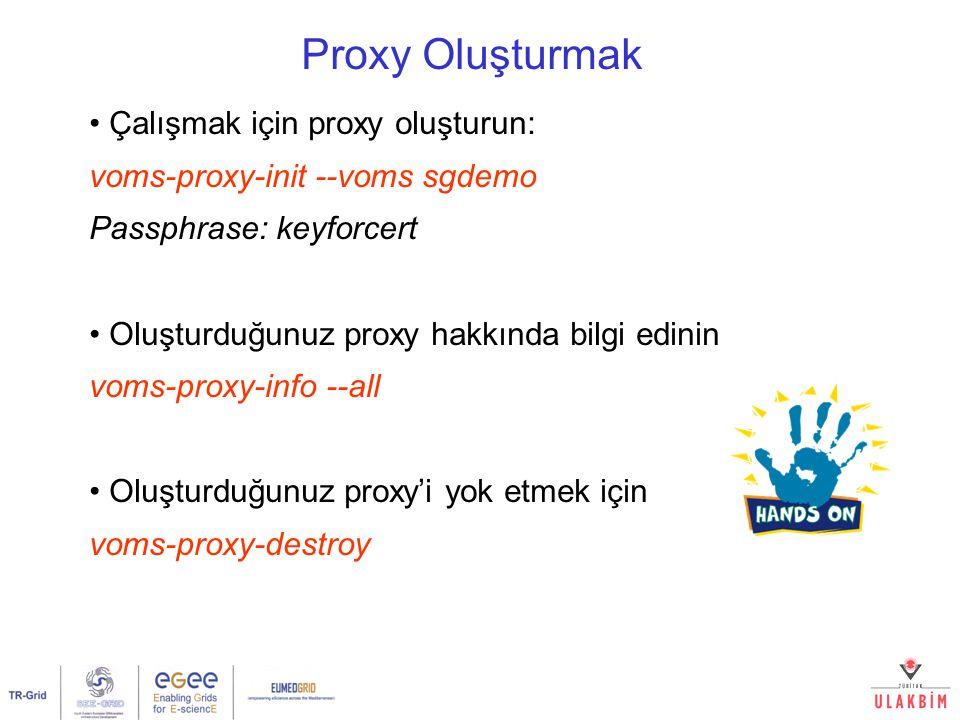 Proxy Oluşturmak Çalışmak için proxy oluşturun: voms-proxy-init --voms sgdemo Passphrase: keyforcert Oluşturduğunuz proxy hakkında bilgi edinin voms-proxy-info --all Oluşturduğunuz proxy'i yok etmek için voms-proxy-destroy