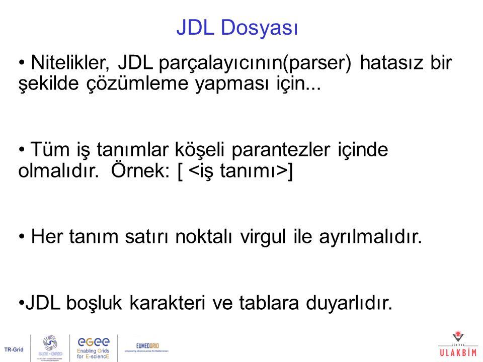 JDL Dosyası Nitelikler, JDL parçalayıcının(parser) hatasız bir şekilde çözümleme yapması için... Tüm iş tanımlar köşeli parantezler içinde olmalıdır.