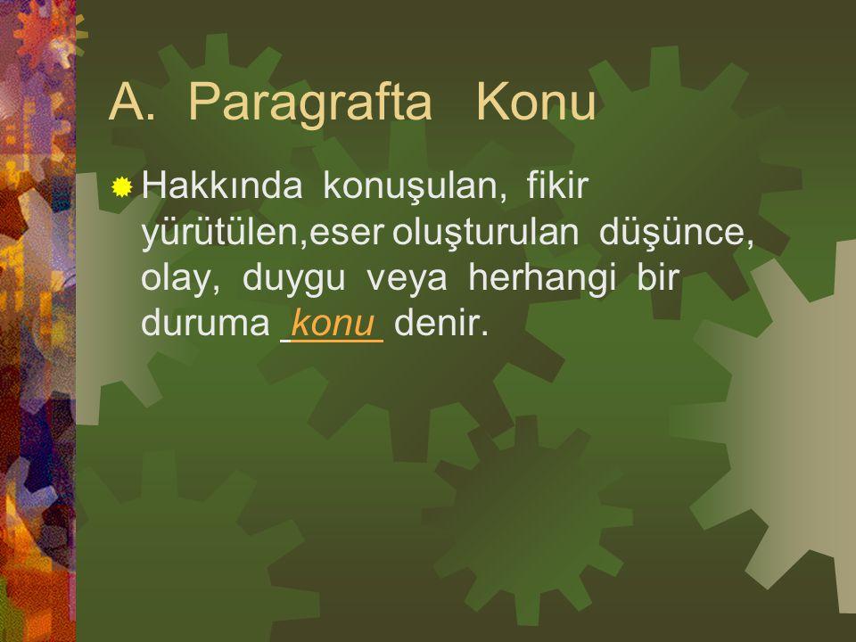 A. Paragrafta Konu  Hakkında konuşulan, fikir yürütülen,eser oluşturulan düşünce, olay, duygu veya herhangi bir duruma konu denir.