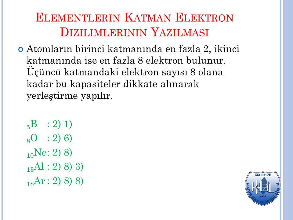 Atomların üçüncü katmanında 8+10 kuralı geçerlidir.