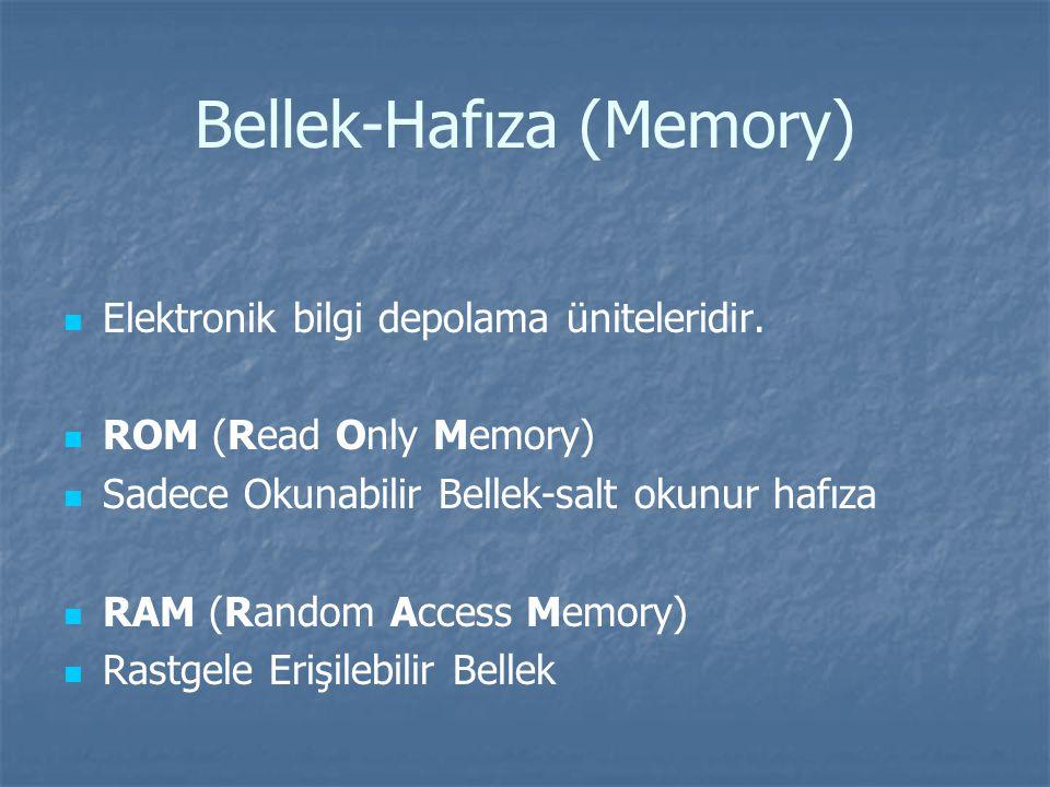 Bellek-Hafıza (Memory) Elektronik bilgi depolama üniteleridir.