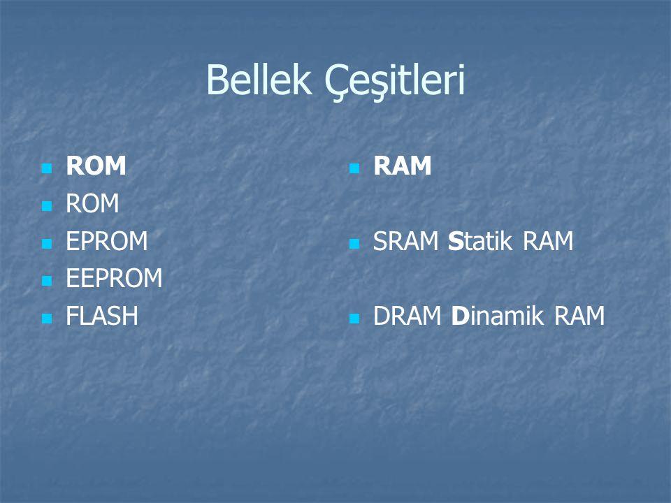 Bellek Çeşitleri ROM EPROM EEPROM FLASH RAM SRAM Statik RAM DRAM Dinamik RAM
