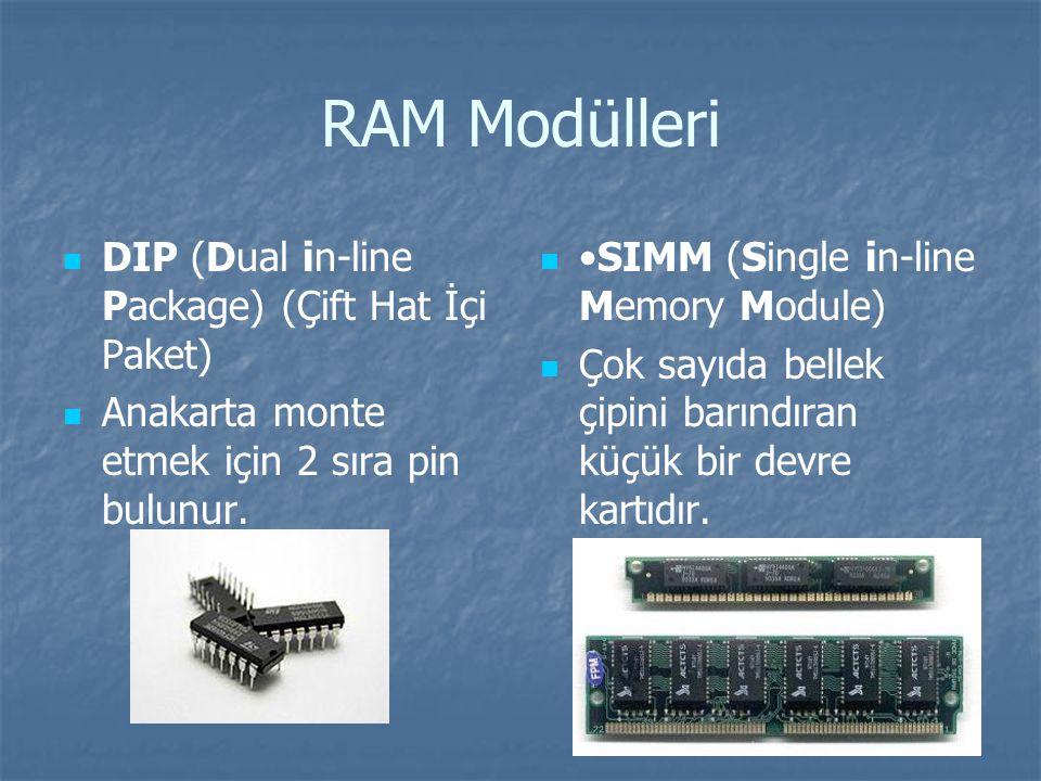 RAM Modülleri DIP (Dual in-line Package) (Çift Hat İçi Paket) Anakarta monte etmek için 2 sıra pin bulunur.