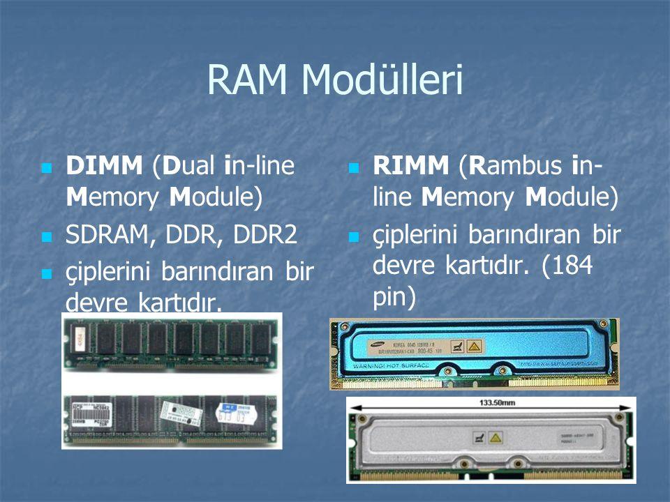 RAM Modülleri DIMM (Dual in-line Memory Module) SDRAM, DDR, DDR2 çiplerini barındıran bir devre kartıdır.