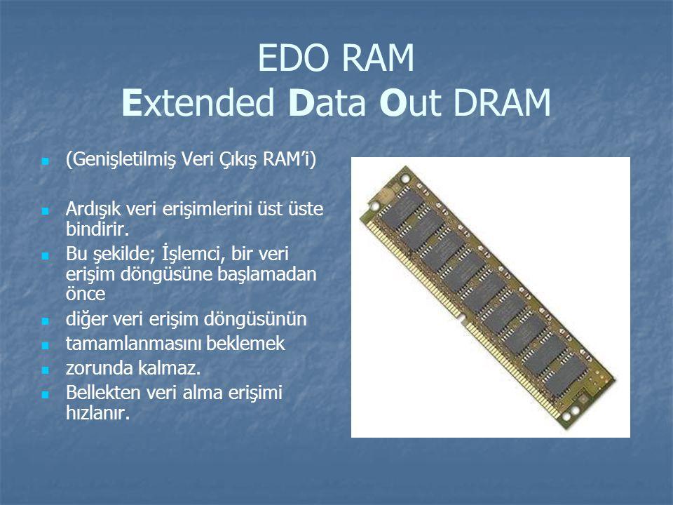 EDO RAM Extended Data Out DRAM (Genişletilmiş Veri Çıkış RAM'i) Ardışık veri erişimlerini üst üste bindirir.