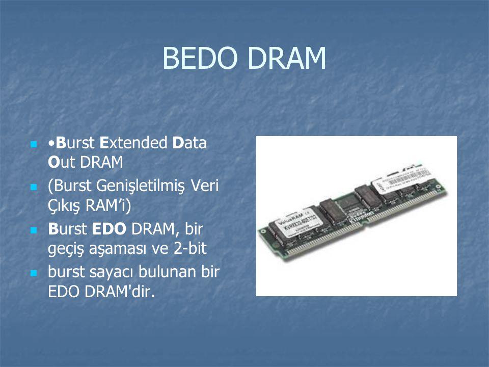 BEDO DRAM Burst Extended Data Out DRAM (Burst Genişletilmiş Veri Çıkış RAM'i) Burst EDO DRAM, bir geçiş aşaması ve 2-bit burst sayacı bulunan bir EDO DRAM dir.