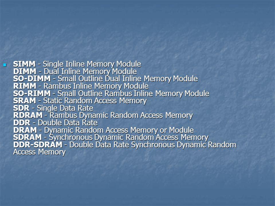 SIMM - Single Inline Memory Module DIMM - Dual Inline Memory Module SO-DIMM - Small Outline Dual Inline Memory Module RIMM - Rambus Inline Memory Module SO-RIMM - Small Outline Rambus Inline Memory Module SRAM - Static Random Access Memory SDR - Single Data Rate RDRAM - Rambus Dynamic Random Access Memory DDR - Double Data Rate DRAM - Dynamic Random Access Memory or Module SDRAM - Synchronous Dynamic Random Access Memory DDR-SDRAM - Double Data Rate Synchronous Dynamic Random Access Memory SIMM - Single Inline Memory Module DIMM - Dual Inline Memory Module SO-DIMM - Small Outline Dual Inline Memory Module RIMM - Rambus Inline Memory Module SO-RIMM - Small Outline Rambus Inline Memory Module SRAM - Static Random Access Memory SDR - Single Data Rate RDRAM - Rambus Dynamic Random Access Memory DDR - Double Data Rate DRAM - Dynamic Random Access Memory or Module SDRAM - Synchronous Dynamic Random Access Memory DDR-SDRAM - Double Data Rate Synchronous Dynamic Random Access Memory