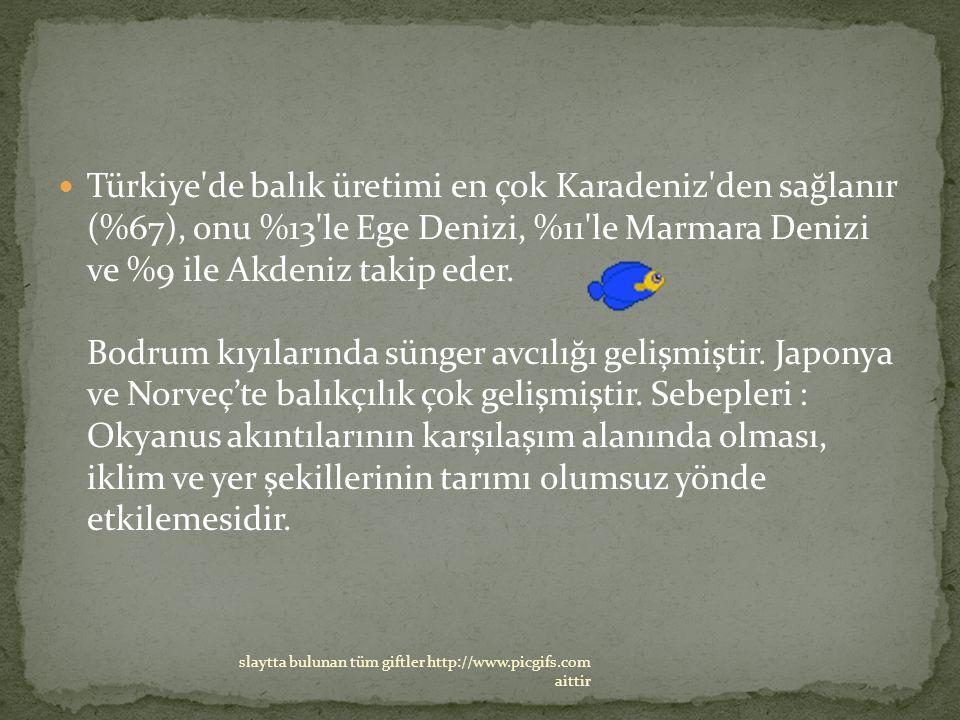 Türkiye'de balık üretimi en çok Karadeniz'den sağlanır (%67), onu %13'le Ege Denizi, %11'le Marmara Denizi ve %9 ile Akdeniz takip eder. Bodrum kıyıla