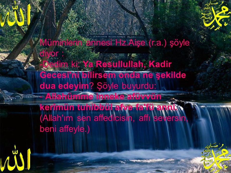 Müminlerin annesi Hz.Aişe (r.a.) şöyle diyor : -Dedim ki: Ya Resullullah, Kadir Gecesi ni bilirsem onda ne şekilde dua edeyim.