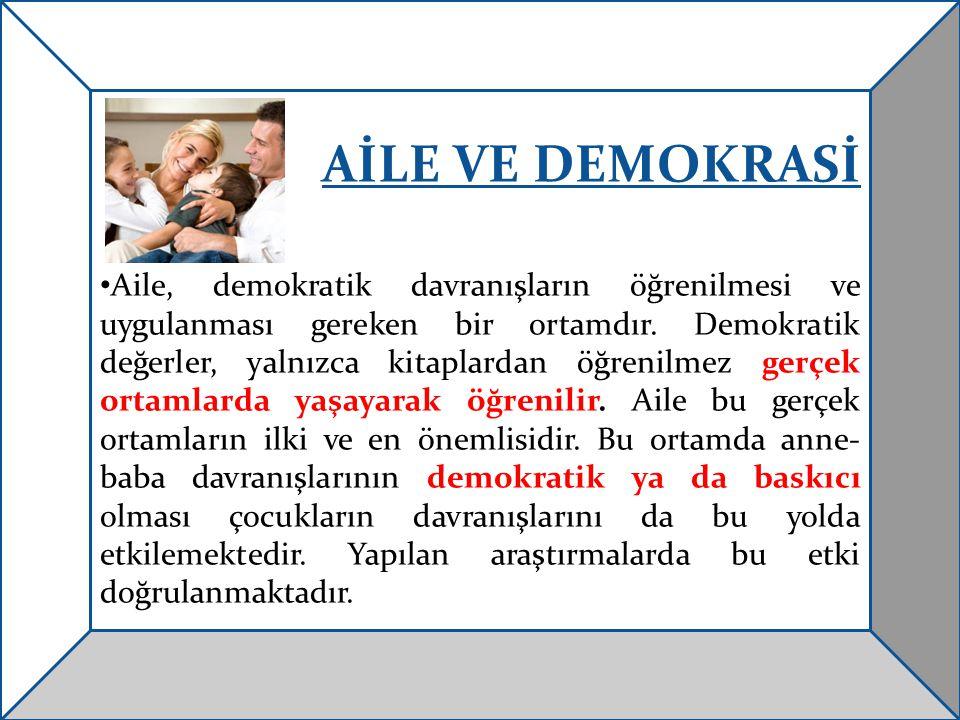 AİLE VE DEMOKRASİ Aile, demokratik davranışların öğrenilmesi ve uygulanması gereken bir ortamdır. Demokratik değerler, yalnızca kitaplardan öğrenilmez
