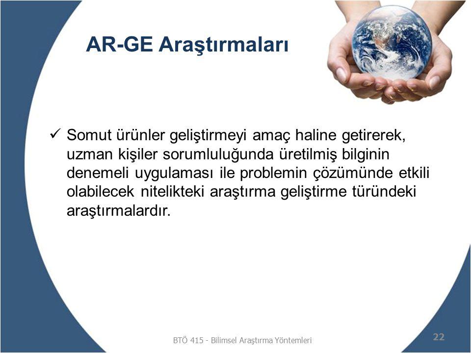 AR-GE Araştırmaları Somut ürünler geliştirmeyi amaç haline getirerek, uzman kişiler sorumluluğunda üretilmiş bilginin denemeli uygulaması ile problemi