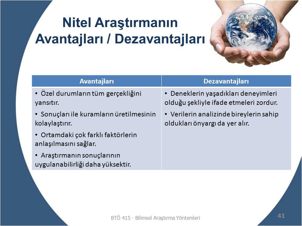 Nitel Araştırmanın Avantajları / Dezavantajları BTÖ 415 - Bilimsel Araştırma Yöntemleri 41 AvantajlarıDezavantajları Özel durumların tüm gerçekliğini