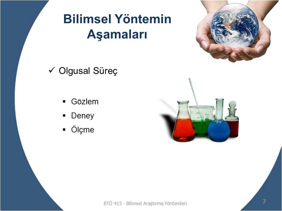 Bilimsel Yöntemin Aşamaları Olgusal Süreç  Gözlem  Deney  Ölçme BTÖ 415 - Bilimsel Araştırma Yöntemleri 7