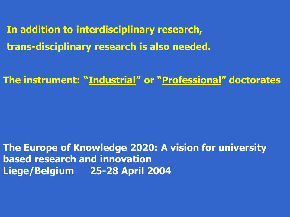 The Europe of Knowledge 2020: A vision for university based research and innovation Liege/Belgium25-28 April 2004 In addition to interdisciplinary res