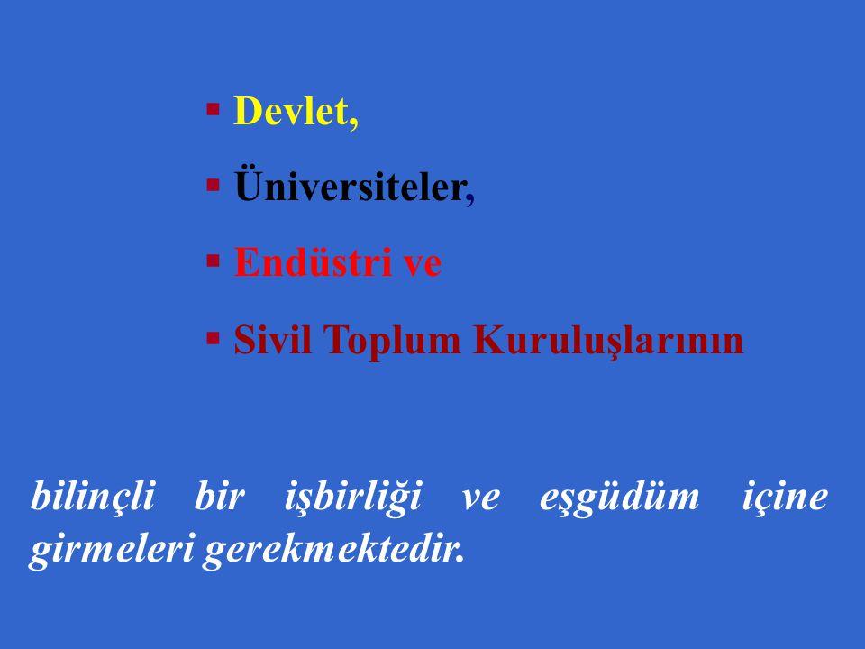  Devlet,  Üniversiteler,  Endüstri ve  Sivil Toplum Kuruluşlarının bilinçli bir işbirliği ve eşgüdüm içine girmeleri gerekmektedir.
