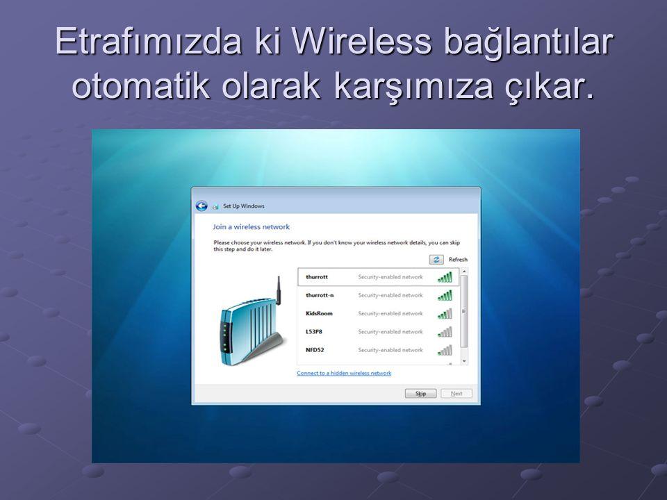 Etrafımızda ki Wireless bağlantılar otomatik olarak karşımıza çıkar.