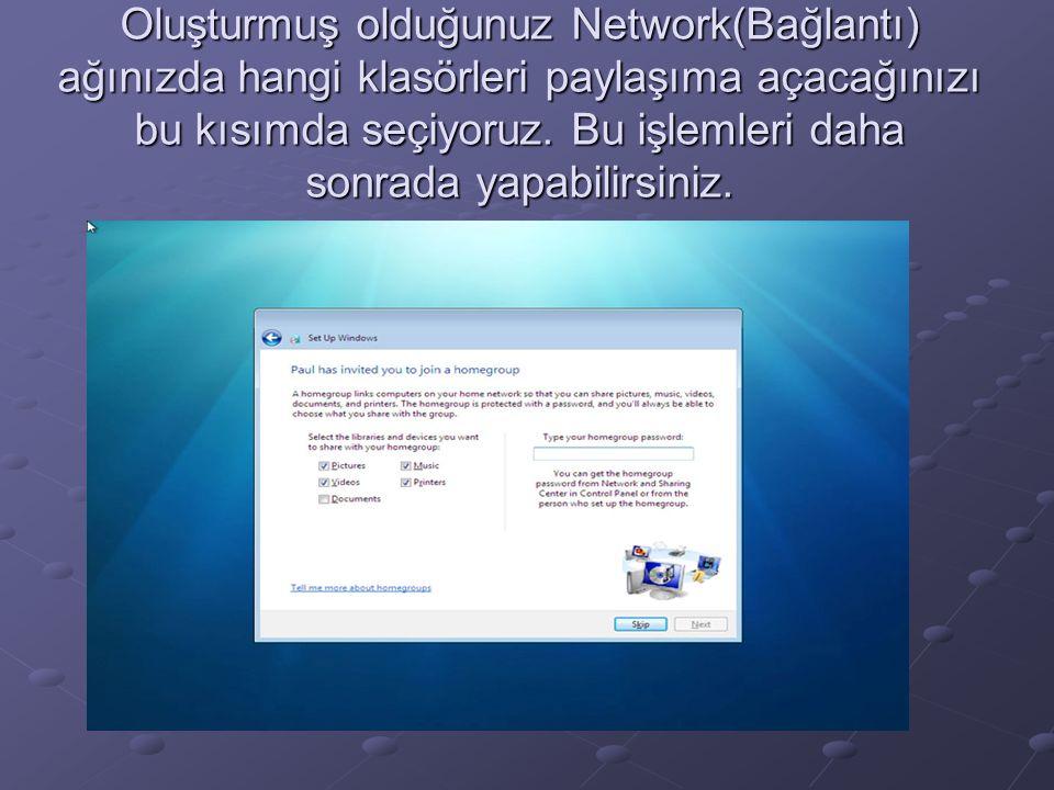 Oluşturmuş olduğunuz Network(Bağlantı) ağınızda hangi klasörleri paylaşıma açacağınızı bu kısımda seçiyoruz. Bu işlemleri daha sonrada yapabilirsiniz.