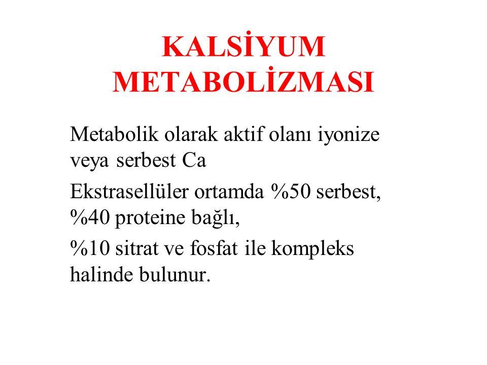 KALSİYUM METABOLİZMASI Metabolik olarak aktif olanı iyonize veya serbest Ca Ekstrasellüler ortamda %50 serbest, %40 proteine bağlı, %10 sitrat ve fosfat ile kompleks halinde bulunur.