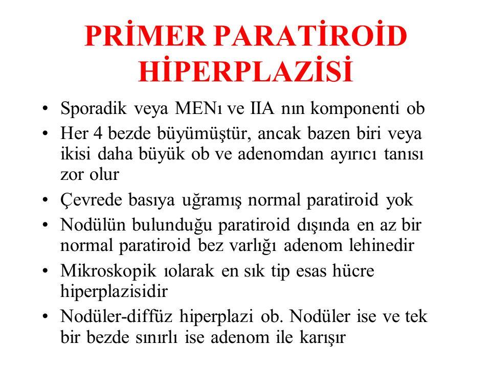 PRİMER PARATİROİD HİPERPLAZİSİ Sporadik veya MENı ve IIA nın komponenti ob Her 4 bezde büyümüştür, ancak bazen biri veya ikisi daha büyük ob ve adenomdan ayırıcı tanısı zor olur Çevrede basıya uğramış normal paratiroid yok Nodülün bulunduğu paratiroid dışında en az bir normal paratiroid bez varlığı adenom lehinedir Mikroskopik ıolarak en sık tip esas hücre hiperplazisidir Nodüler-diffüz hiperplazi ob.