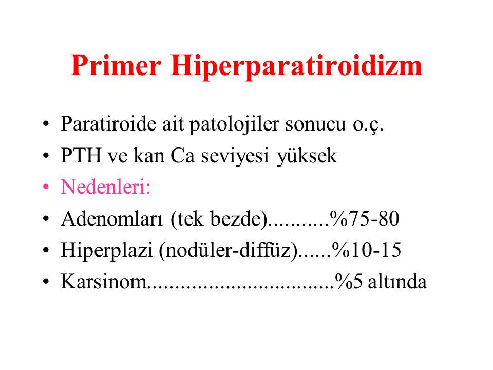 Primer Hiperparatiroidizm Paratiroide ait patolojiler sonucu o.ç.