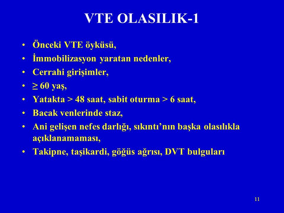 11 VTE OLASILIK-1 Önceki VTE öyküsü, İmmobilizasyon yaratan nedenler, Cerrahi girişimler, ≥ 60 yaş, Yatakta > 48 saat, sabit oturma > 6 saat, Bacak ve
