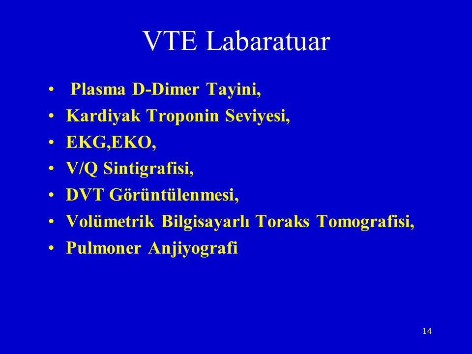 14 VTE Labaratuar Plasma D-Dimer Tayini, Kardiyak Troponin Seviyesi, EKG,EKO, V/Q Sintigrafisi, DVT Görüntülenmesi, Volümetrik Bilgisayarlı Toraks Tom