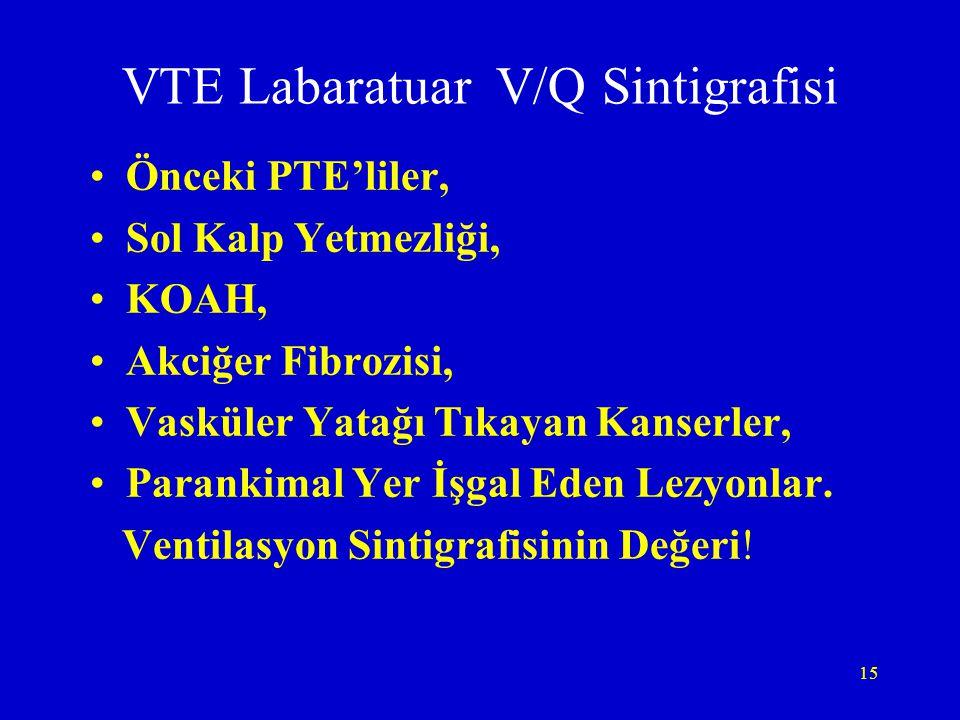 15 VTE Labaratuar V/Q Sintigrafisi Önceki PTE'liler, Sol Kalp Yetmezliği, KOAH, Akciğer Fibrozisi, Vasküler Yatağı Tıkayan Kanserler, Parankimal Yer İ