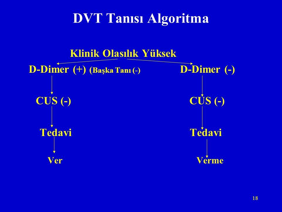 18 DVT Tanısı Algoritma Klinik Olasılık Yüksek D-Dimer (+) ( Başka Tanı (-) D-Dimer (-) CUS (-) CUS (-) Tedavi Tedavi Ver Verme