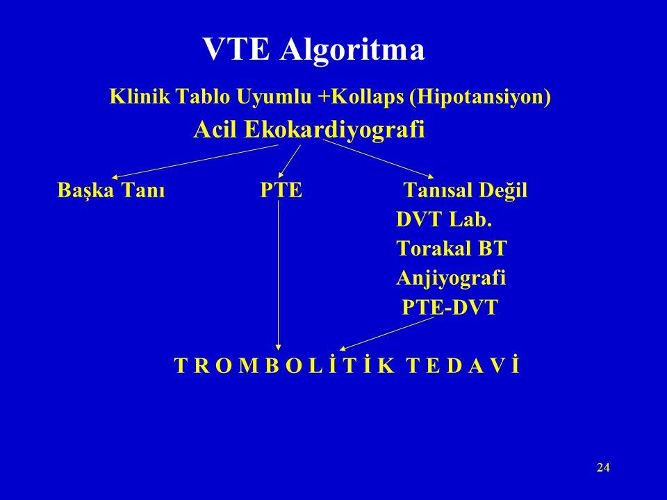 24 VTE Algoritma Klinik Tablo Uyumlu +Kollaps (Hipotansiyon) Acil Ekokardiyografi Başka Tanı PTE Tanısal Değil DVT Lab. Torakal BT Anjiyografi PTE-DVT
