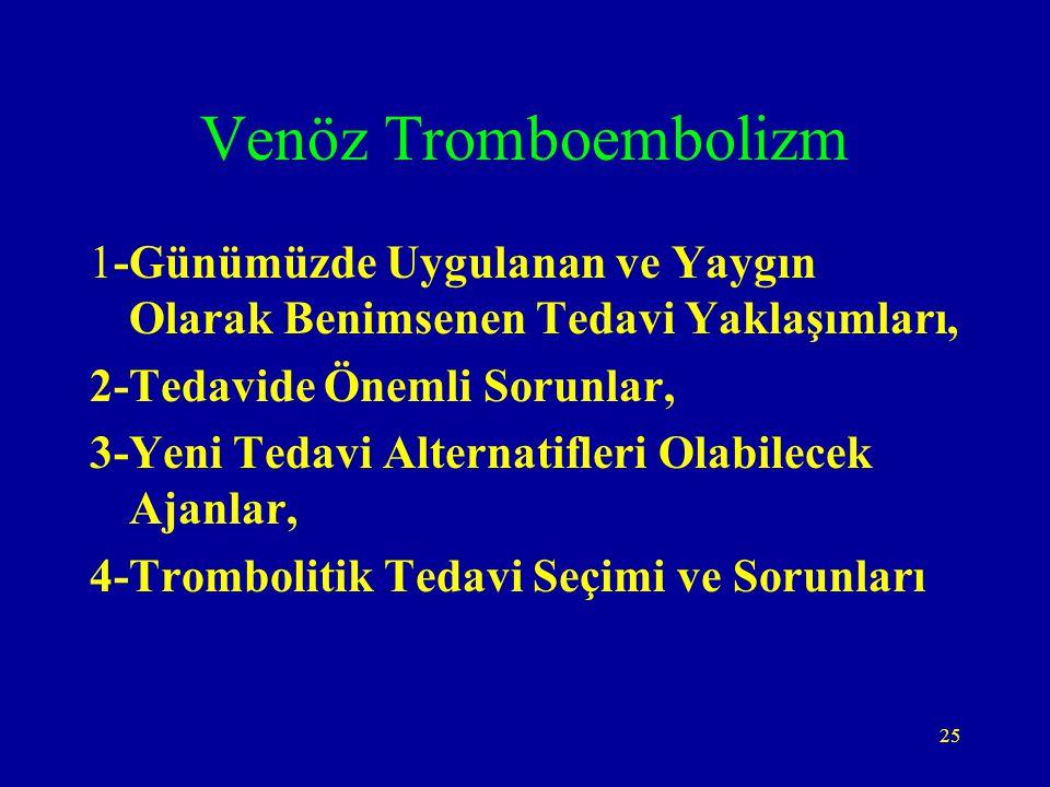 25 Venöz Tromboembolizm 1-Günümüzde Uygulanan ve Yaygın Olarak Benimsenen Tedavi Yaklaşımları, 2-Tedavide Önemli Sorunlar, 3-Yeni Tedavi Alternatifler