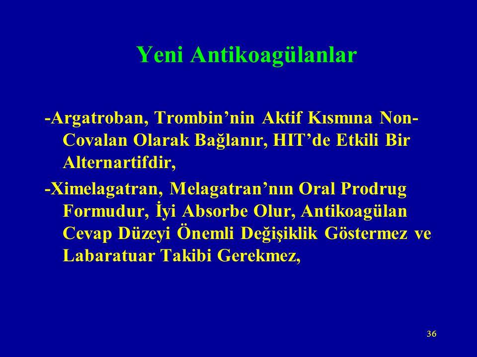 36 Yeni Antikoagülanlar -Argatroban, Trombin'nin Aktif Kısmına Non- Covalan Olarak Bağlanır, HIT'de Etkili Bir Alternartifdir, -Ximelagatran, Melagatr