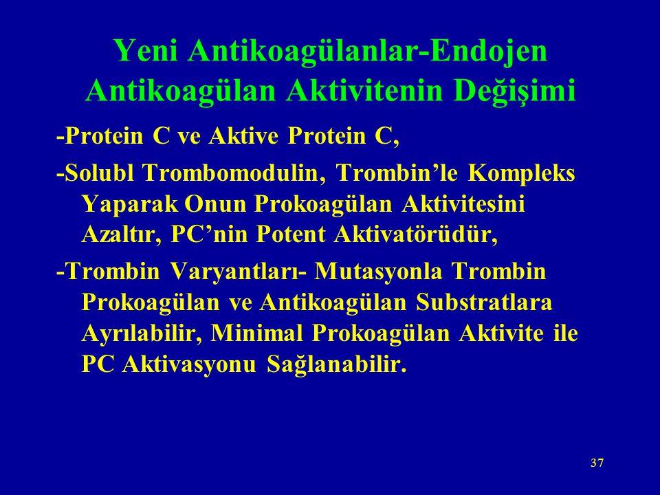 37 Yeni Antikoagülanlar-Endojen Antikoagülan Aktivitenin Değişimi -Protein C ve Aktive Protein C, -Solubl Trombomodulin, Trombin'le Kompleks Yaparak O