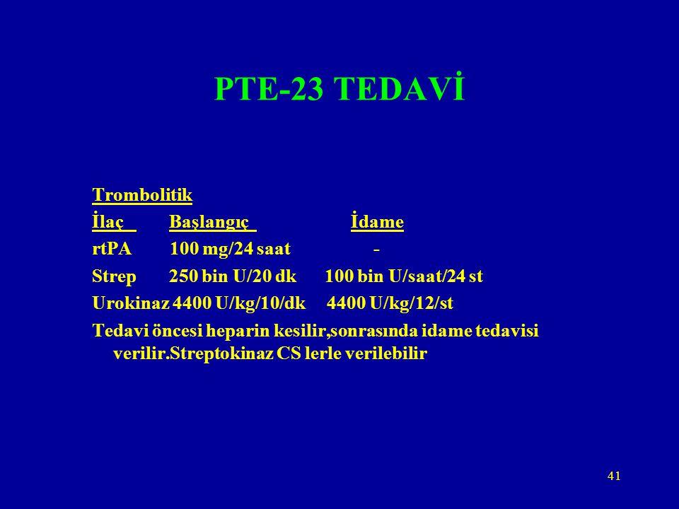 41 PTE-23 TEDAVİ Trombolitik İlaç Başlangıç İdame rtPA 100 mg/24 saat - Strep 250 bin U/20 dk 100 bin U/saat/24 st Urokinaz 4400 U/kg/10/dk 4400 U/kg/