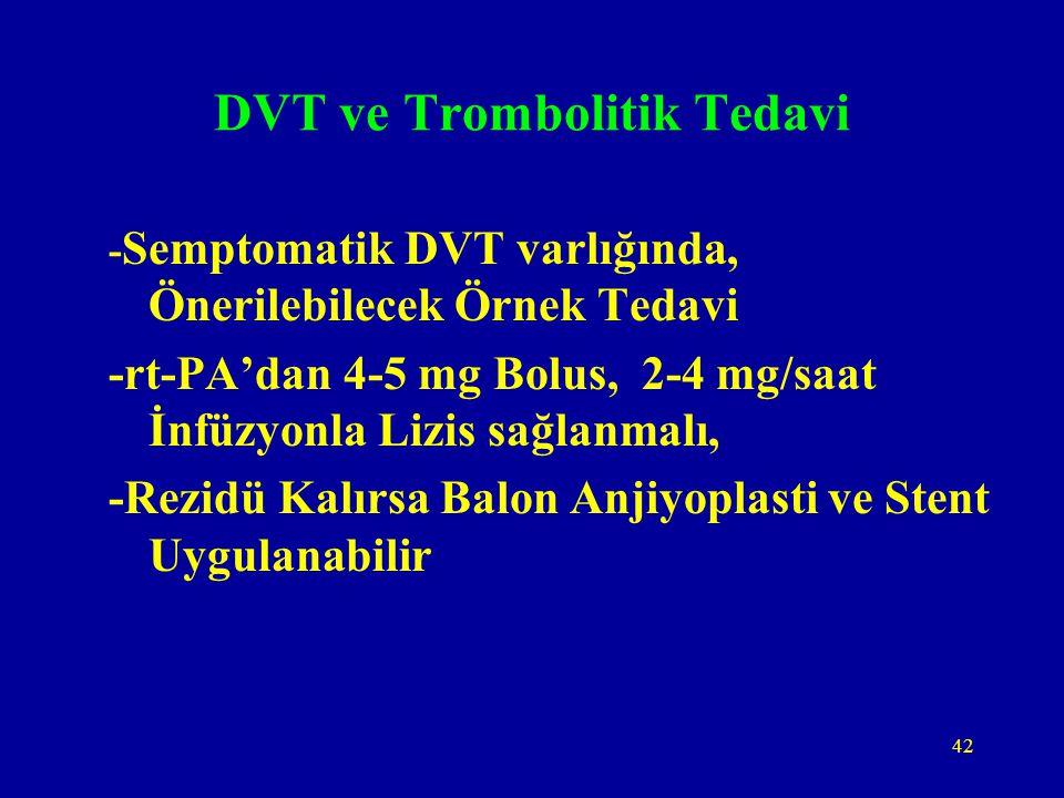 42 DVT ve Trombolitik Tedavi - Semptomatik DVT varlığında, Önerilebilecek Örnek Tedavi -rt-PA'dan 4-5 mg Bolus, 2-4 mg/saat İnfüzyonla Lizis sağlanmal