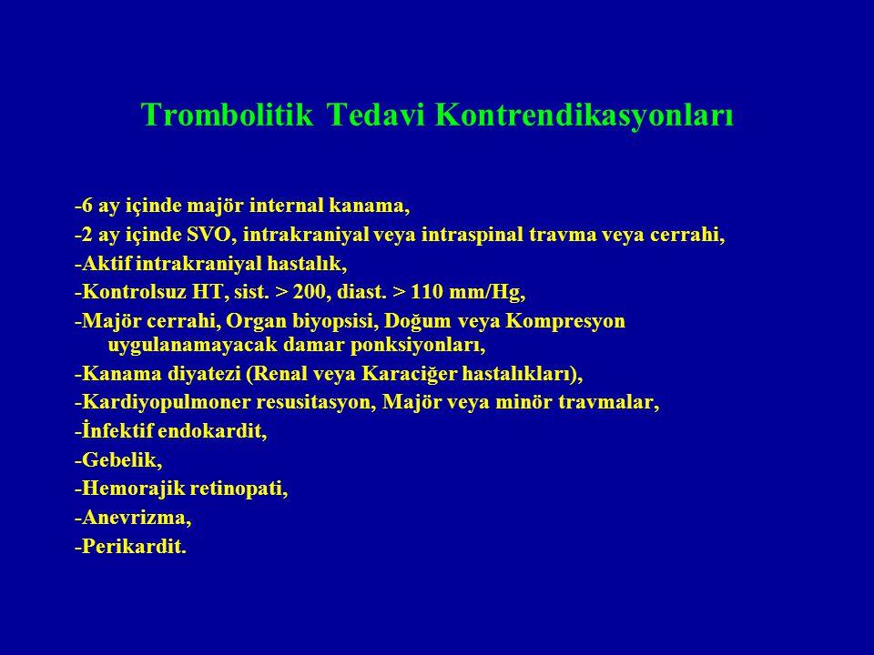 Trombolitik Tedavi Kontrendikasyonları -6 ay içinde majör internal kanama, -2 ay içinde SVO, intrakraniyal veya intraspinal travma veya cerrahi, -Akti
