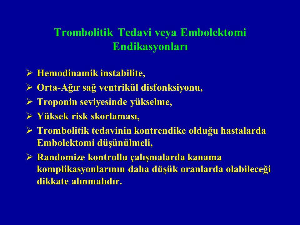 Trombolitik Tedavi veya Embolektomi Endikasyonları  Hemodinamik instabilite,  Orta-Ağır sağ ventrikül disfonksiyonu,  Troponin seviyesinde yükselme